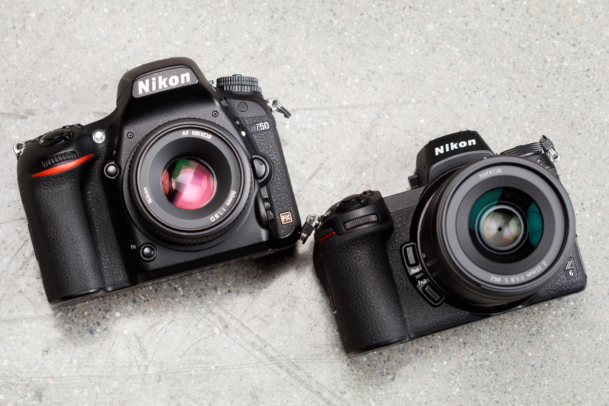 NikonD750 on the left, next to the Nikon Z6 on the right, photographed by Dan Bracaglia